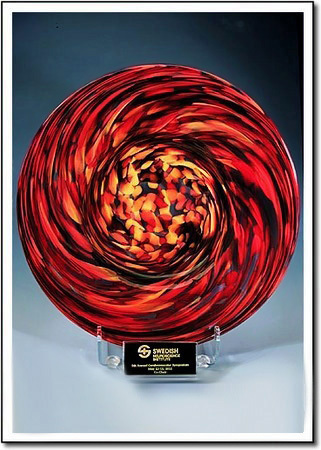 Glowing Ember Swirl Art Glass Award