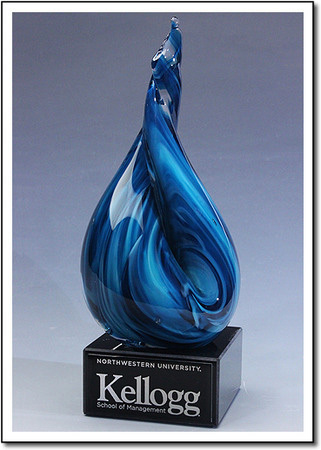 Electric Blue Flame Art Glass Award