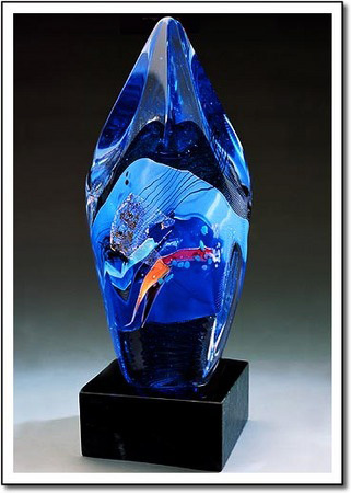 Blue Facet Collage Art Glass Award